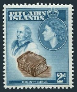 Pitcairn 22, lightly hinged. Michel 22. QE II 1957. John Adams, Bounty Bible.