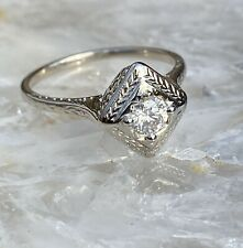 14K WHITE GOLD ANTIQUE WEDDING RING #1908 APPRAISED VALUE $700