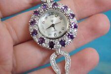 "Turkish Ottoman Style amethyst topaz  925 Silver Wrist Watch handmade 8"""