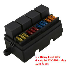 Car 12-way Fuse Box 40A Relay With Spade Terminals & 12pcs Fuse Universal Black