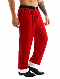 Santa Costumes Pants Cosplay Xmas Christmas Halloween Adult Mens Long Trousers