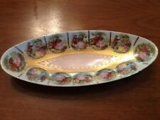 VINTAGE COURTING COUPLE VICTORIAN CELERY DISH BEAUTIFULLY DECORATED & GOLD TRIM