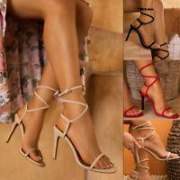 ❤️ Women's Peep Toe Sandals Ladies High Heel Stiletto Ankle Strap Shoes SZ 5-8.5
