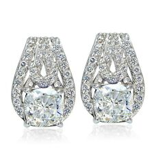 Platinum Plated Sterling Silver 100 Facets Cubic Zirconia Cushion-Cut Earrings
