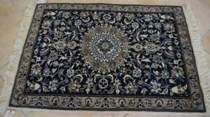 3 x 4'2 Silk Highlight High KPSI Fine Vintage Hand Knotted Wool Area Rug Carpet