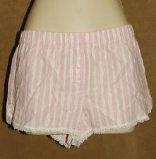 VICTORIA'S Secret - Pink & Wh Striped - Soft Cotton - Sleep / Boxer Shorts sz XS
