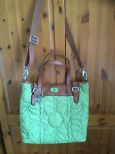 Fossil Large Green Fabric And Tan Leather Messenger Tote Handbag Bag