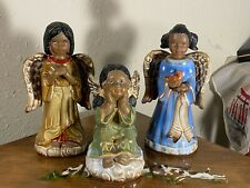 Black American Angels Glazed & Bisque Ceramic Figurines Set of 3 One is Free