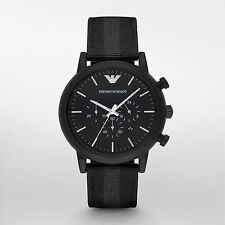 Emporio Armani Men's Dress AR1948 Black Nylon Quartz Dress Watch 100% Authentic