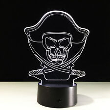 Night Light Acrylic Lamp Touch Switch Colorful Ocean Pirate Skull Rover Home Dec