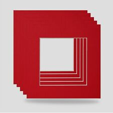 12x12 for 10x10 INCH SQUARE PHOTO MOUNT PACK OF 5-RED BRIGHT COLOUR FRAME