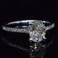 Real 1.25 Ct Oval Cut Diamond Engagement Ring Round cut Accents I,VS2 GIA 18K WG
