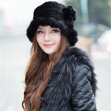 100% Genuine Winter Women Knitted Mink Fur Hat Cap Headgear Tuque Beanie Hats