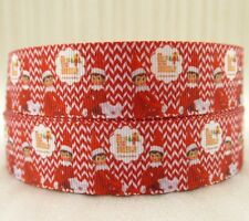 "BTY 1"" Christmas Red Chevron Grosgrain Ribbon Hair Bows Party Lanyards Lisa"