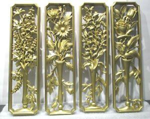 "VTG 4pc  Burwood Products Co  Vases Stemmed Flowers 17-3/8"" x 4-3/4"""