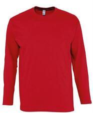 Long Sleeve Cotton GREY GREEN RED BLUE ORANGE T-Shirt Tee Shirt S-XXXL + 4XL+5XL