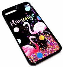 For iPhone 7 PLUS - Flamingo Party Rose Gold Pink Glitter Liquid Water Skin Case