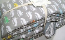 Pottery Barn Kids Gray Vintage Asher Air Plane Stripe Whole Cloth Twin Quilt New