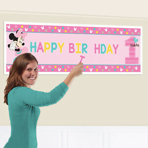 1st Birthday Pink Minnie Mouse Banner to Personalise Party Decoration AGE 1 Girl