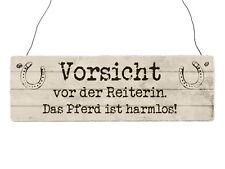 Holzschild Shabby Chic Vintage Türschild VORSICHT VOR DER REITERIN Pferd Reiten