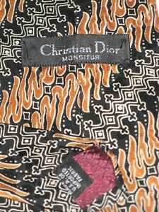 Christian Dior Neck Tie All Silk Brown Black & White Abstract Print