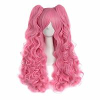 """MapofBeauty 28""""/70cm Lolita Long Curly Clip On Ponytails Cosplay Wig(Pink)"""