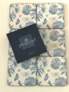 Set of 6 Pimpernel Boxed Coasters Botanic Blue Delicate Floral & Butterfly +1