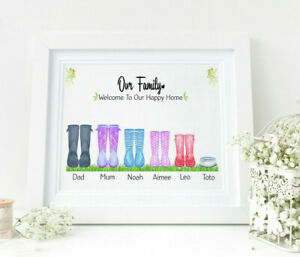Personalised WELLIES Watercolour Word Art Family Print Rain Boots Mother's Day