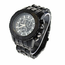 Tecno Trend Heavy Duty All Black Mens Metal Band Analog Quartz Round Wrist Watch