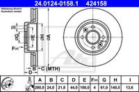 2x Bremsscheibe für Bremsanlage Vorderachse ATE 24.0124-0158.1