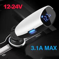 Dual Port 3.1A USB Car Cigarette Adapter Charger Lighter Digital LED VoltmeterYJ