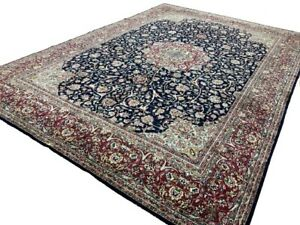 10' x 14' SIGNED SEMI ANTIQUE WOOL ORIENTAL VINTAGE RUG RED AND BLUE S-12011