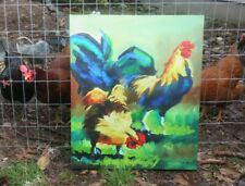 OIL ON CANVAS PAINTING OF VERY COLORFUL ROOSTER SIGNED