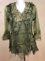 NWT PRETTY ANGEL SILK BLEND VINTAGE BOHO LAYERED BLOUSE TOP GREEN SZ 1X, 3X
