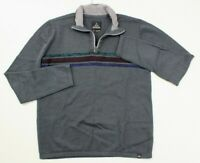 prAna Gray Wool Blend Holberg 1/4 Zip Pullover Sweater Shirt Mens Size Medium