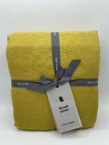 New West Elm European Belgian Flax Linen Full/Queen Duvet Cover ~Dijon~
