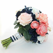 Navy, Coral & White Handmade Wedding Bouquet with Silk Flowers & Crystal Brooch