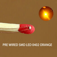 C0402OR 20pcs Pre-soldered micro 0.1mm Copper Wired ORANGE SMD Led 0402 NEW