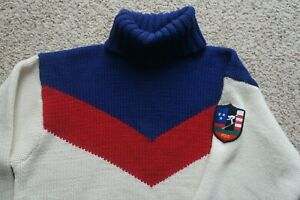 RARE Vtg 92 93 Polo Ralph Lauren Chevron Suicide Ski Skier Turtleneck Sweater M