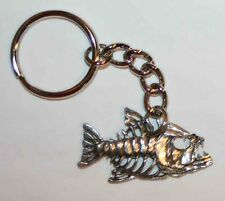 BONY FISH Bones Fine Pewter Keychain Key Chain Ring Fob USA Made