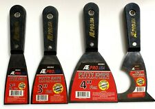 4 ASSORTED ATE PRO FLEXIBLE STAINLESS STEEL PUTTY KNIFE KNIVES SCRAPERS DRYWALL