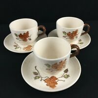 Set of 3 VTG Cups and Saucers Metlox Woodland Gold Poppytrail California USA
