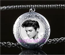 Elvis Presley Photo Cabochon Glass Tibet Silver Locket Pendant Necklace
