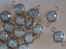 RARE 14kt Gold Filled Swarovski Channel Links Sapphire 12 mm long  2 Eye Links