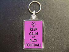 50 x KEEP CALM AND PLAY FOOTBALL PINK KEYRINGS BAG TAG BIRTHDAY GIFT