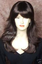 Layered Flip Wavy Wig in Dark Brown / 100% Japanese Fibre Brilliant Quality