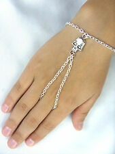 A Skull Charm Silver Tone Hand Harness, Bracelet & Ring Armour, Slave Chain