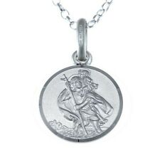 "CHILDRENS CHILD SILVER ST SAINT CHRISTOPHER CHAIN NECKLACE WITH 16"" CHAIN & BOX"