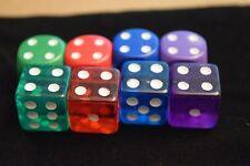 8 Multi-Color Transparent & Opaque Chessex Bunco Gaming Dice Set 16mm YahtzeeBag