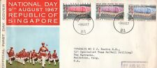 Singapore - 1967 National Day full set of 3 SG 92-4 on illustrated FDC to UK